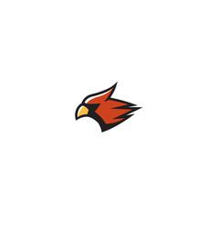 Creative bird head cardinal abstract logo vector