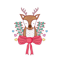 Cute christmas reindeer with wreath and bown vector