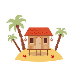 cute exotic beach house standing on sand island vector image