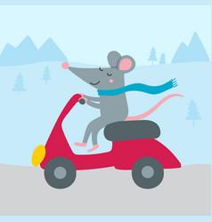 Cute rat riding bike vector