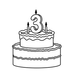 delicious cake with candle number three vector image