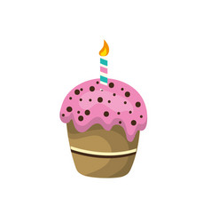 Delicious cupcake with candle to happy birthday vector