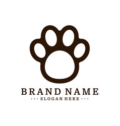 dog foot logo design template dog icon logo vector image