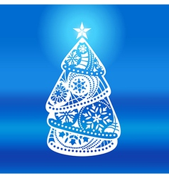 Elegant Christmas tree on a blue background vector image