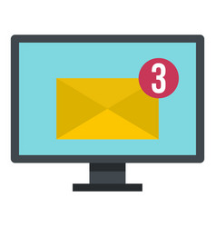 email messages on computer monitor icon isolated vector image