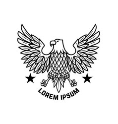 Emblem template with eagle in engraving style vector