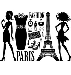 Fashionable set with silhouettes women vector