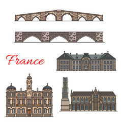 French travel landmarks thin line icons vector