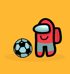 Game character red color among us with a football vector