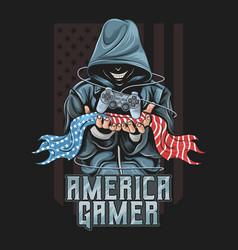 gamer hold joystick and america flag artwork vector image