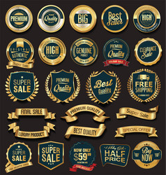 Golden sale badges and labels 02 vector