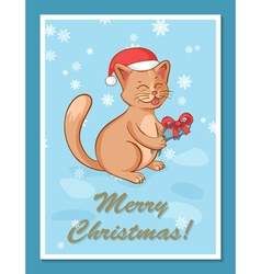 greeting card template with cute cartoon happy cat vector image