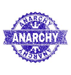 Grunge textured anarchy stamp seal with ribbon vector