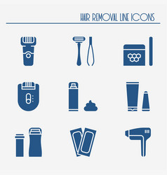 Hair removal methods silhouette icons set shaving vector
