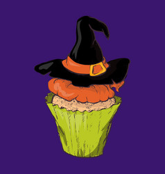 halloween cake with a witch hat vector image