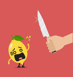 hand with a knife prepare to cut shocked lemon vector image