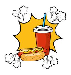Hot dog with soda vector