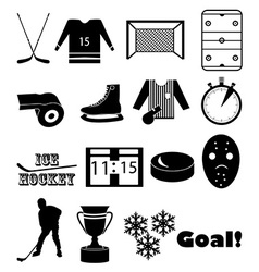 Ice hockey icons set vector