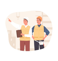 Inspector and foreman in hardhats at construction vector