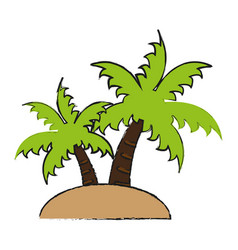 Island with palm trees icon image vector