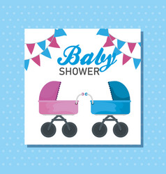Letter invitation littles boy and girl carriage vector