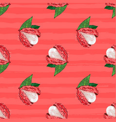 Lychee fruit seamless pattern exotic fruit litchi vector