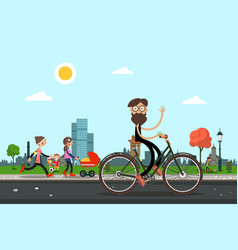 man on bicycle with people in city park on vector image