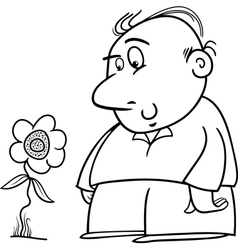 man with sunflower coloring page vector image vector image