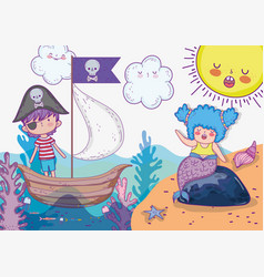 Mermaid woman and pirate boy in the ship vector