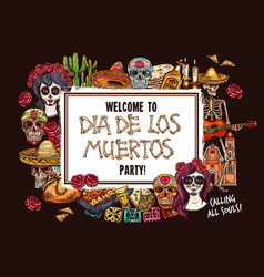 mexican day dead skull catherina and skeleton vector image