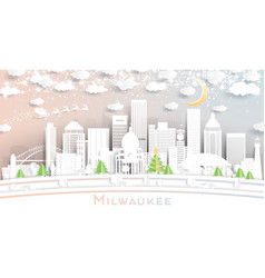 milwaukee wisconsin city skyline in paper cut vector image