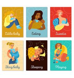 Motherhood cards set vector