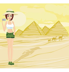 Nature Photographer taking pictures in Giza built vector