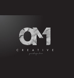 Om o m letter logo with zebra lines texture vector