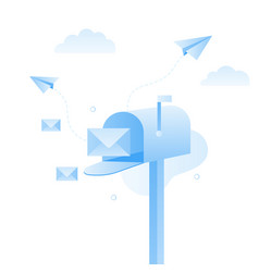opened mailbox with regular mail inside vector image