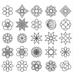 outline flower set icon for coloring vector image