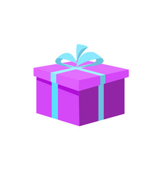purple gift box present wrapping isolated vector image