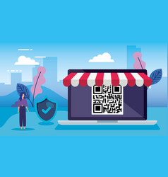 Qr code inside laptop avatar woman and shield vector
