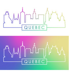 Quebec skyline colorful linear style editable vector