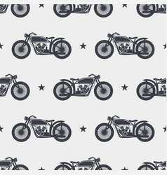 seamless pattern motorcycle silhouette vector image