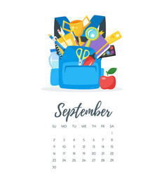 September 2018 year calendar page vector