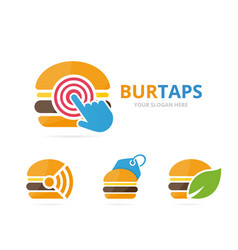 set burger logo combination hamburger and vector image