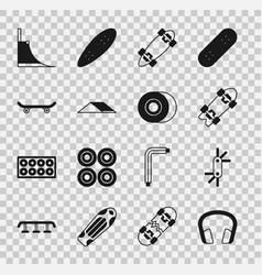 Set headphones tool allen keys longboard vector