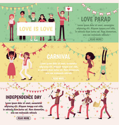 Set of banners with people for independence day vector