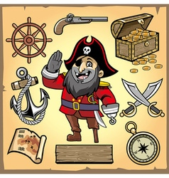 set pirate cartoon collection vector image