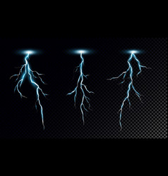 set realistic lightning on vector image