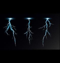 set realistic lightning vector image