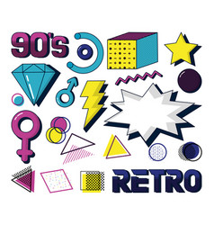 Set retro icons vector