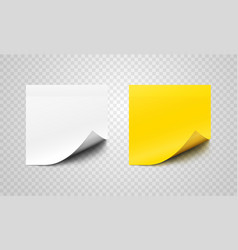Set sticky paper sheets with curl on corners vector