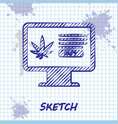sketch line computer monitor and medical marijuana vector image